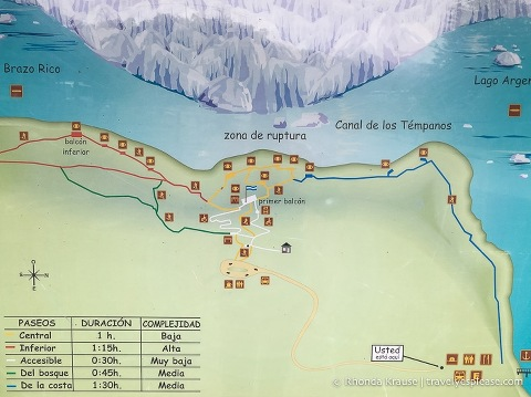 Map of the Perito Moreno Glacier trails.