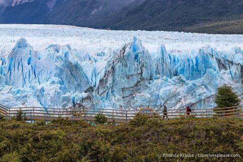Elevated walkway in front of Perito Moreno Glacier.