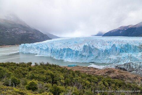 Wide view of Perito Moreno Glacier and Brazo Rico (the Rico Arm) of Lago Argentina.
