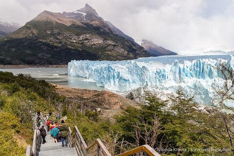 Walkway stairs in front of Perito Moreno Glacier.