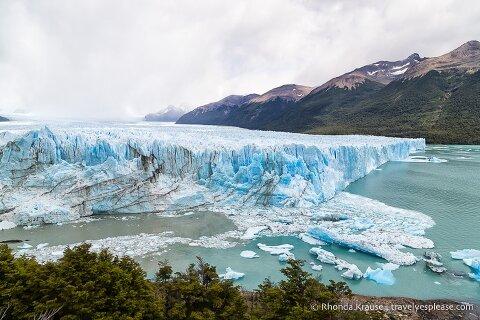 Ice floating in Lago Argentino in front of Perito Moreno Glacier.