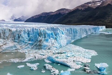 Ice floating in the water in front of Perito Moreno Glacier.
