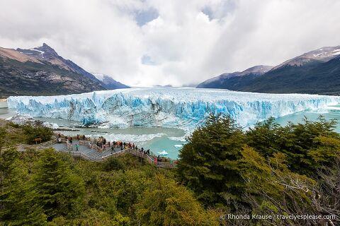 Wide view of Perito Moreno Glacier in Los Glaciares National Park, Argentina.