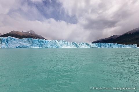 Wide view of the north face of Perito Moreno Glacier with Lago Argentino.