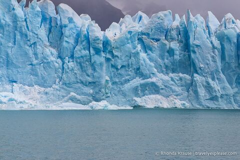 Ice falling from the glacier into Lago Argentino.