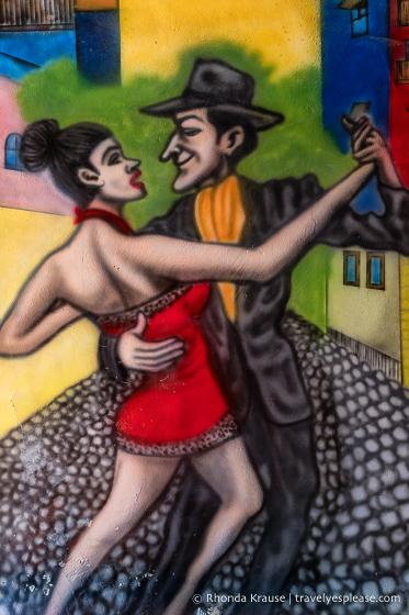 Tango dancers mural in the Caminito, La Boca.