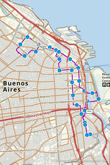 Map of our Buenos Aires bike tour.